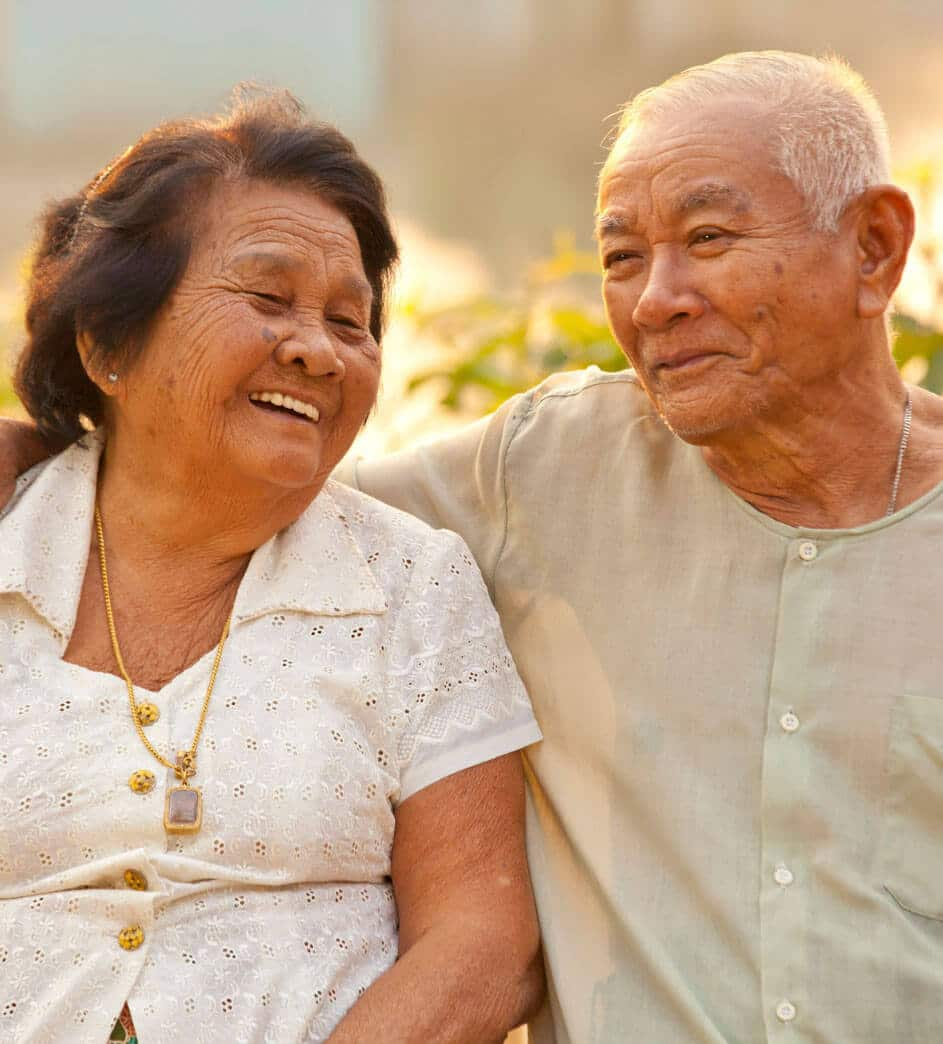 an senior couple enjoying outdoors